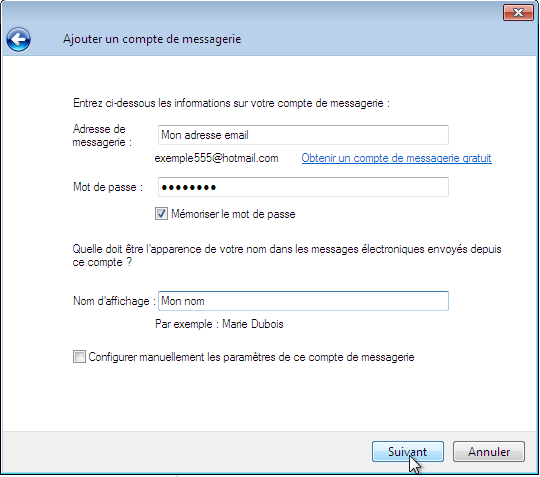 Configurer_Windows live mail : Ecran 4