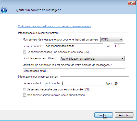 Configurer_Windows live mail : Ecran 5