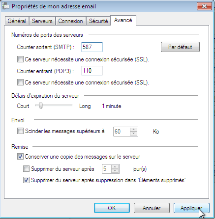 Configurer_Windows Live Mail 2009_SMTP : Ecran 4