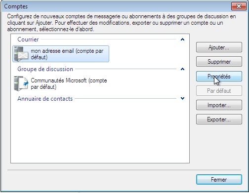 Configurer_Windows Live Mail 2009_SMTP : Ecran 1