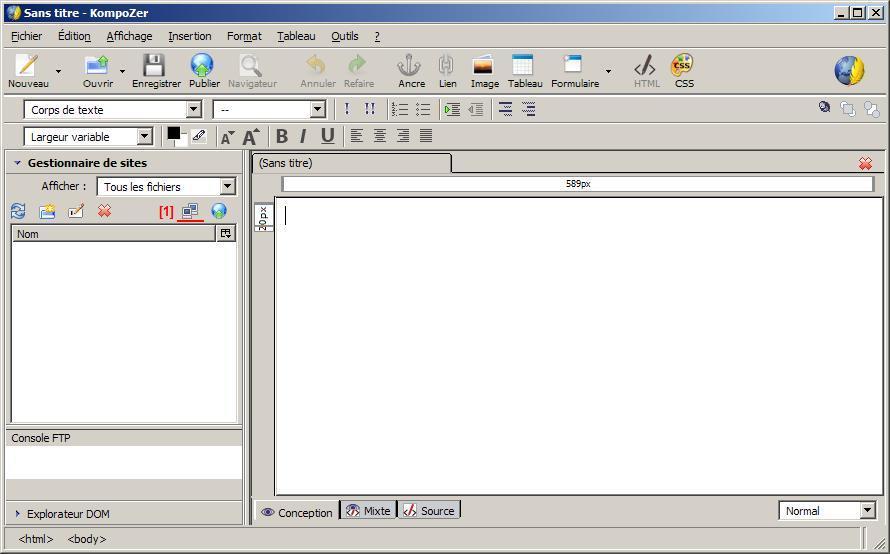 FTP_configurer KompoZer : Ecran 1