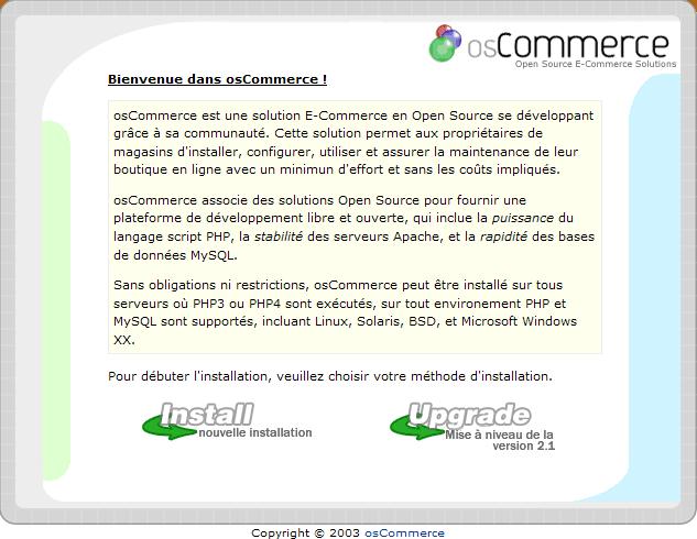 Installation d'un osCommerce : écran1