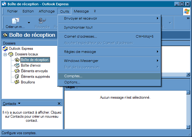 Configurer_Outlook Express : Ecran 1
