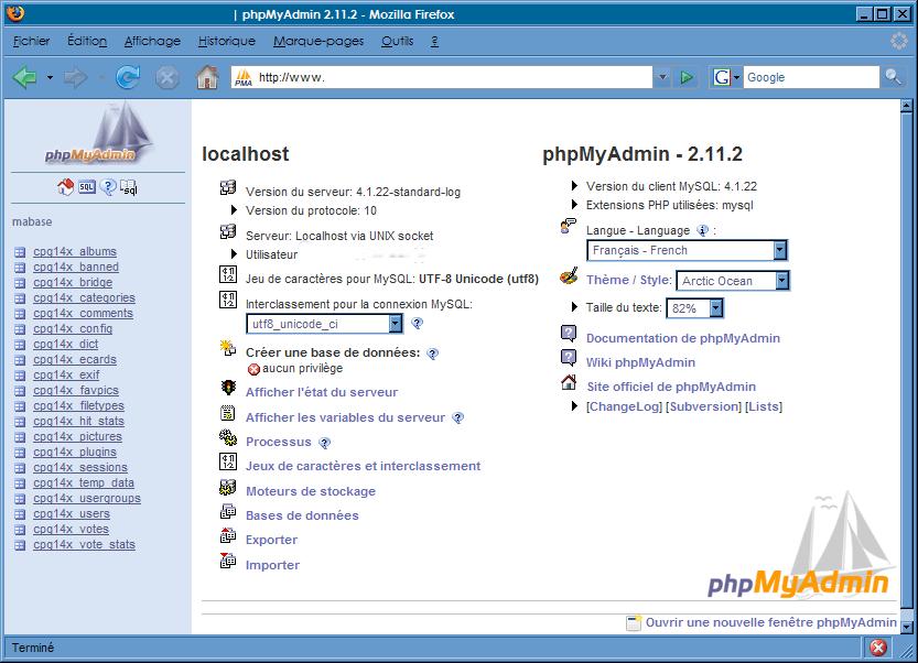 Interface phpMyAdmin