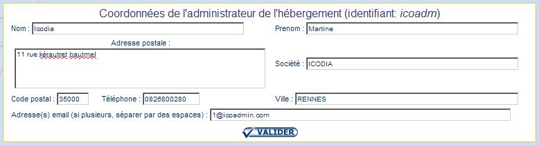 IcoAdmin_modifier les coordonnées de l'administrateur de l'hébergement : Ecran 1