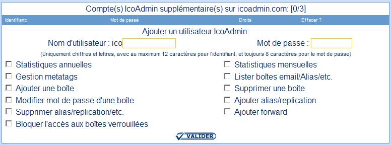 IcoAdmin_Compte utilisateur supplémentaire : Ecran 1