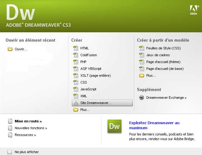 FTP_Dreamweaver CS3 : Ecran 1