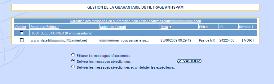 IcoAdmin_Gestion de la quarantaine du filtrage antispam : Ecran 1