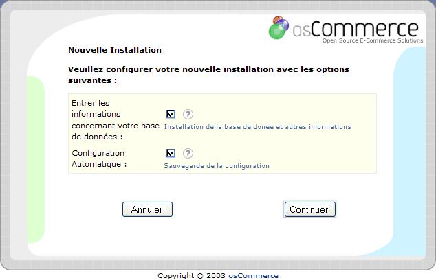 Installation d'un osCommerce : écran2