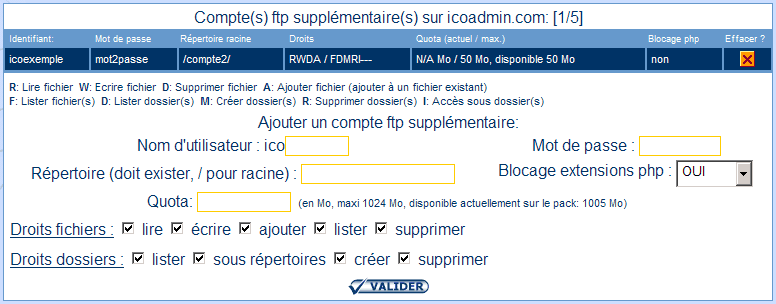 IcoAdmin_utilisateur ftp supplémentaire : Ecran 2