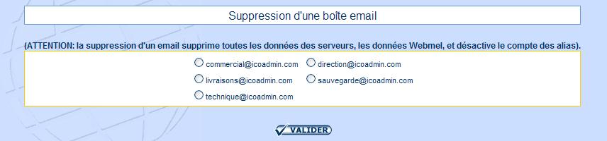 IcoAdmin_Supprimer un compte email : Ecran 1