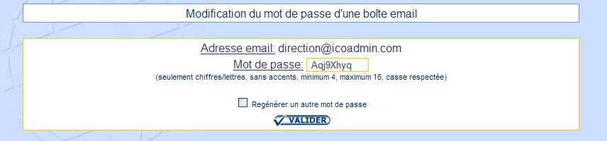 IcoAdmin_Regénérer un mot de passe d'un compte email : Ecran 1