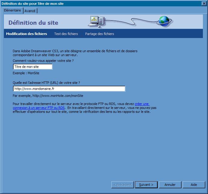 FTP_Dreaweaver CS3 : Ecran 2