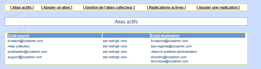 IcoAdmin_email_redirection : Ecran 1