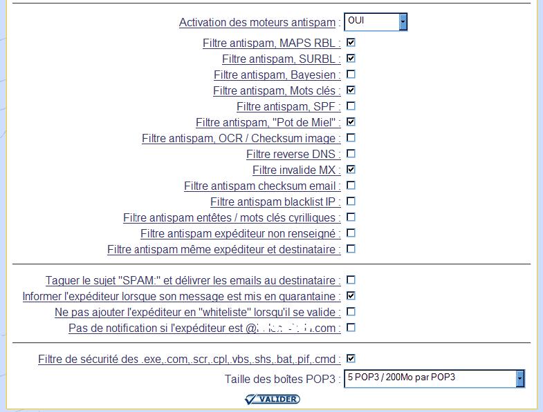 IcoAdmin_ Activer et désactiver les filtres antispam : Ecran 1