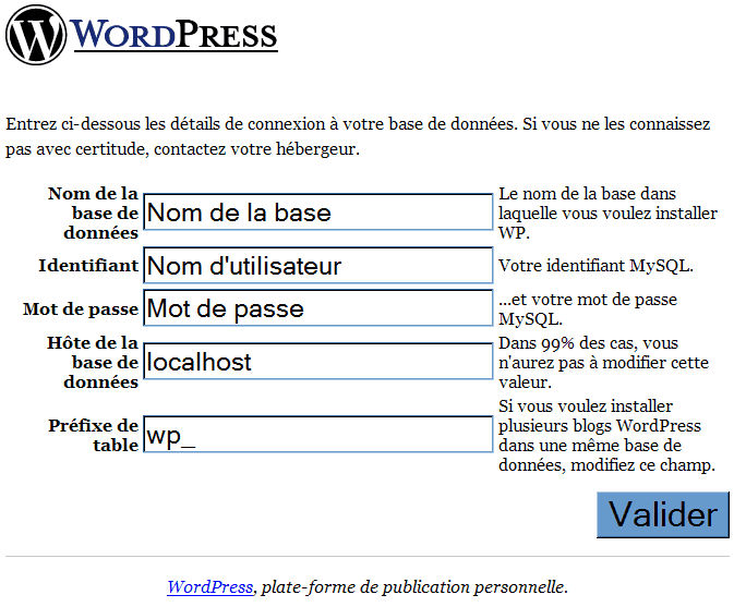 Installation_Wordpress : Ecran 3