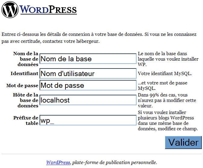 Installation_Wordpress : Ecran 3