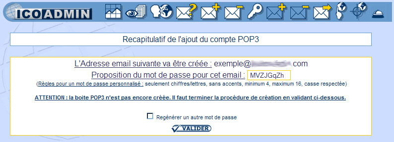 IcoAdmin_Créer un compte email : Ecran 3