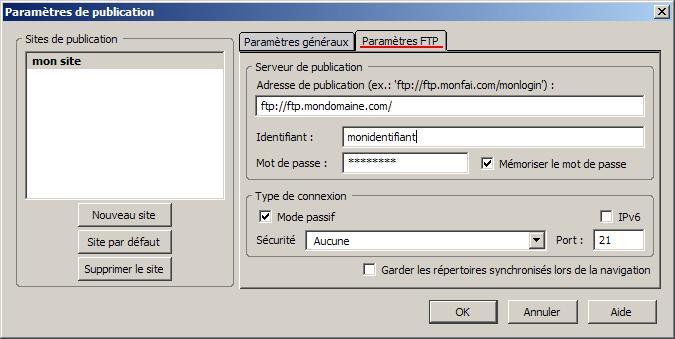 FTP_Configurer Kompozer : Ecran 4