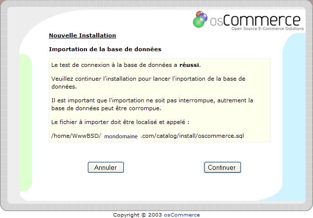 Installation d'un osCommerce : écran4