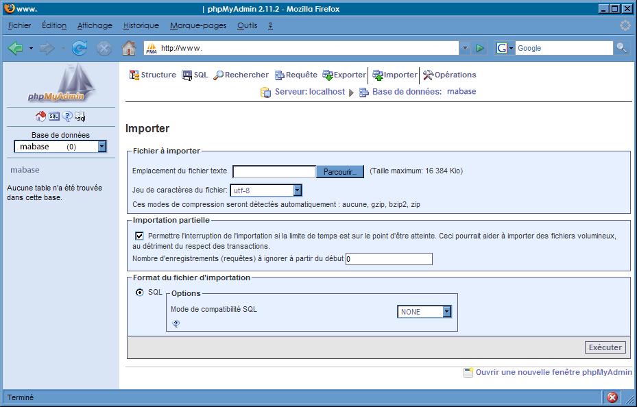 phpMyAdmin : Import d'une base de dommées
