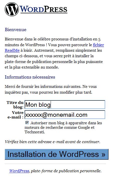 Installation-Wordpress : ecran 5