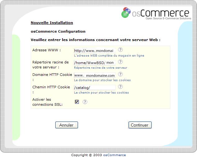 Installation d'un osCommerce : écran6