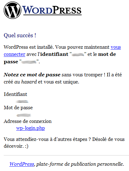 Installation_Wordpress : Ecran 6
