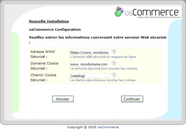 Installation d'un osCommerce : écran7