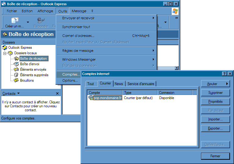 Configurer_Outlook Expresse_SMTP : Ecran 1