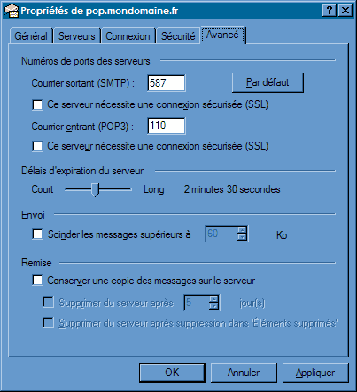 Configurer_Outlook Express_SMTP : Ecran 2