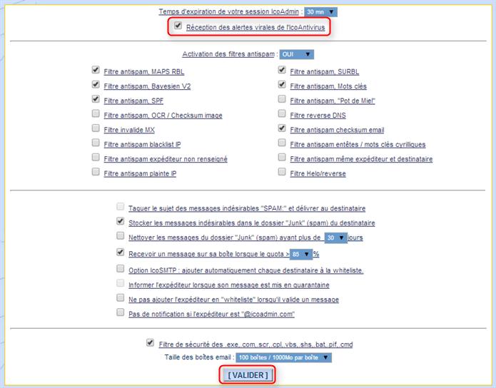 activer / désactiver la notification par email de l'antivirus