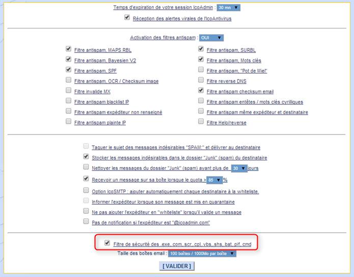 activer ou désactiver le filtre antivirus sur les fichiers executables