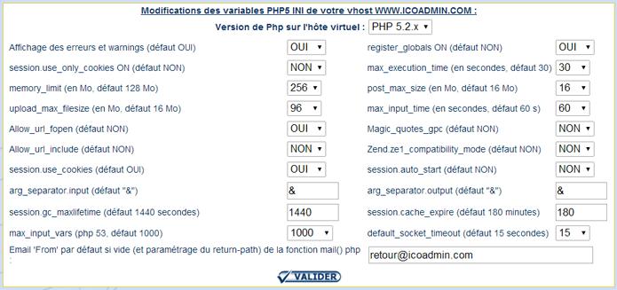 modifier les paramètres php ini de votre vhost