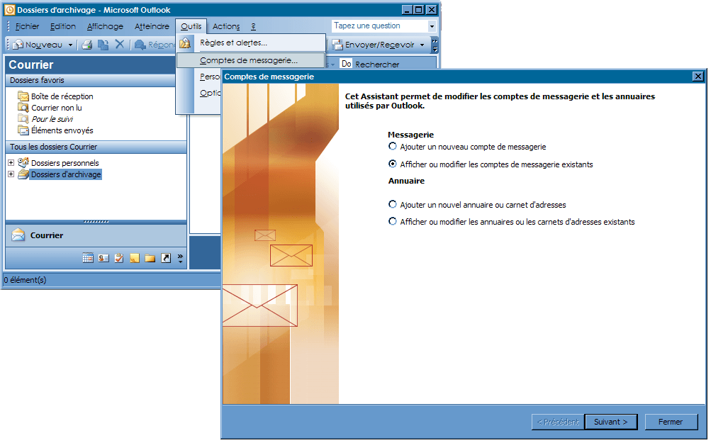 Configurer_Outlook Office 2003_SMTP : Ecran 1