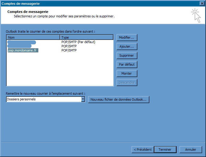 Configurer_Outlook Office 2003_SMTP : Ecran 2