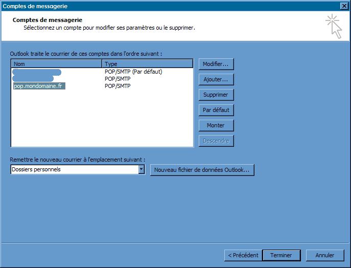 Configurer_Outlook Office 2003_SMTP : Ecran 2