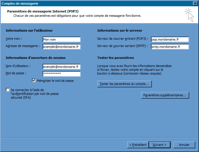 Configurer_Outlook Office 2003_SMTP : Ecran 3