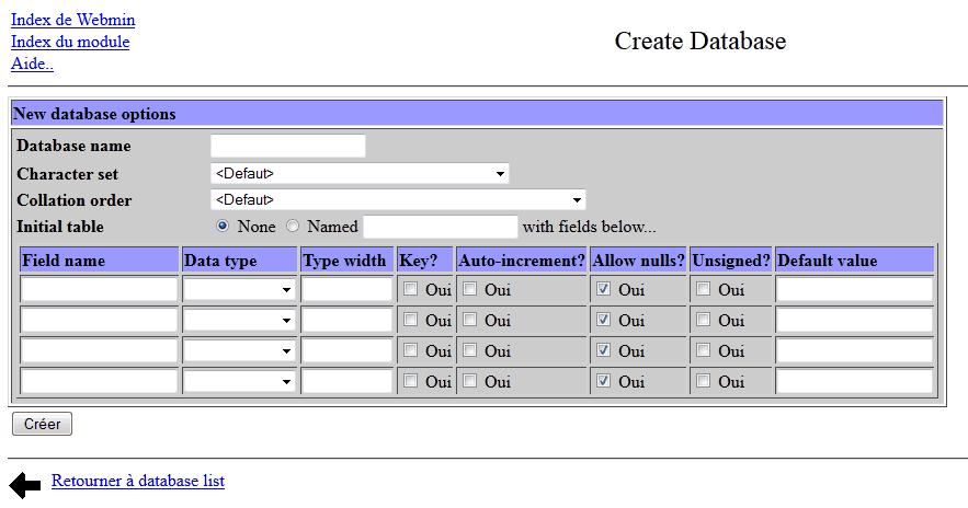 Webmin Creation D Une Base De Donnees Mysql D Un Utilisateur Et