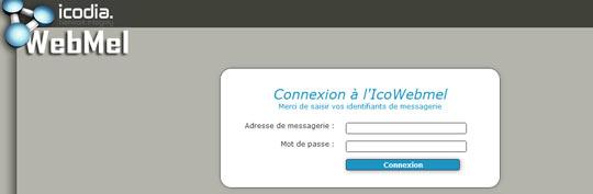 Interface de connexion au webmail d'Icodia